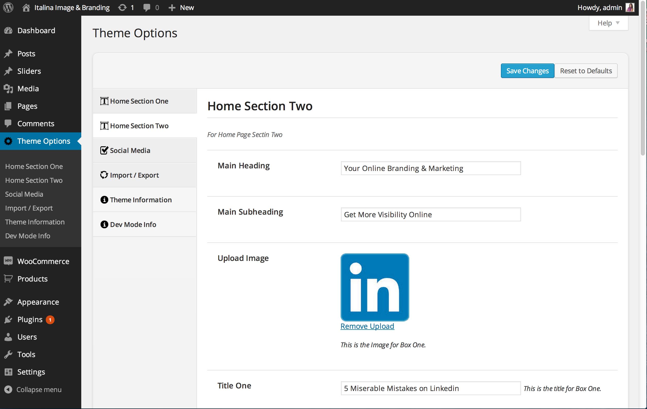Custom Editable WordPress Home Page Sections
